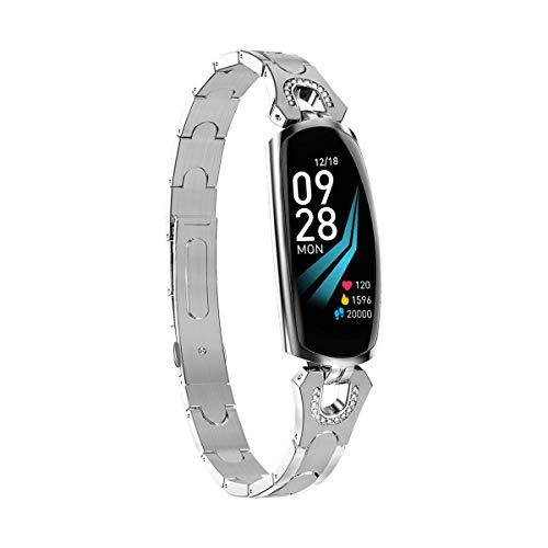 Women's Smart Watch - Sport-Gesundheits-Tracker mit Armband zur Herzfrequenz-Blutdrucküberwachung-Silver