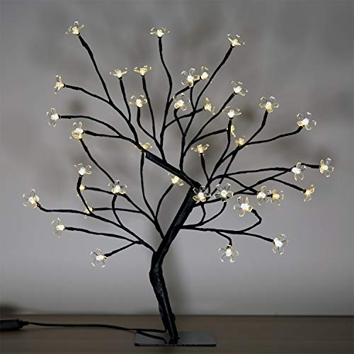 Cherry Blossom Bonsai Tree, 40 LED Lights, with 24V UL Listed Adapter and Metal Base, Warm White Lights, Perfect for Night Lights, Standard Version