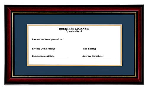Flagship Frames Business License Frame Real Wood & Glass Sized 3.5x8 Inch with Mat and 5x10 Inch without Mat for Display Business Licenses, Retail Licenses, Bank Checks.