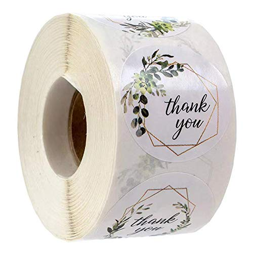 1 inch Round Sticker Thank You Stickers, Thank You Sticker for Small Businesses, Four Different Leaf Designs, Very Suitable for Greeting Cards, Weddings, Small Businesses (500 Stickers)