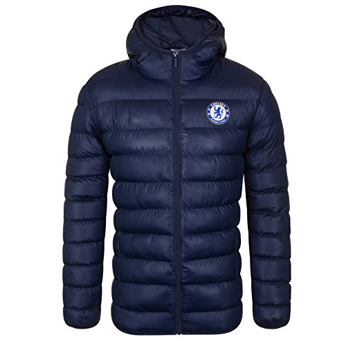 Chelsea FC Official Soccer Gift Mens Quilted Hooded Winter Jacket Navy Small