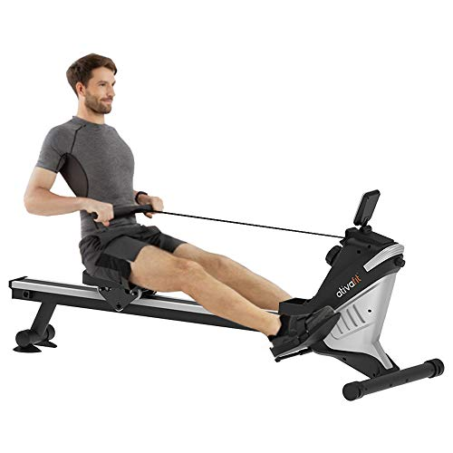 ATIVAFIT Health & Fitness Magnetic Rowing Machine with LCD Display (Black)