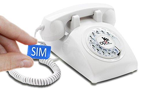 OPIS 60s Mobile: móvil de sobremesa/teléfono Fijo con sim/teléfono móvil para Mayores/teléfono Retro móvil con Disco de marcar (Blanco)
