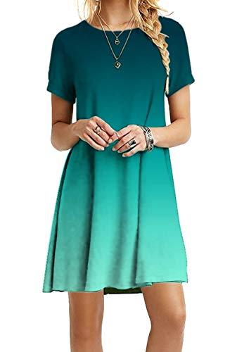 YMING Damen Lockeres Kleid Lose Blusenkeid Kurzarm Lange Shirt Casual Sommerkleid Mini JB-Grün L/DE 40
