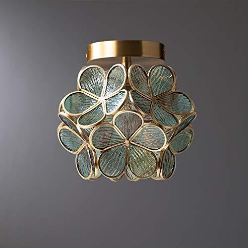 Jydqm cristal sombra cobre lámpara de techo pasillo LED luz de techo sala luces lámpara guardarropa lámpara techo brillo luces techo luces