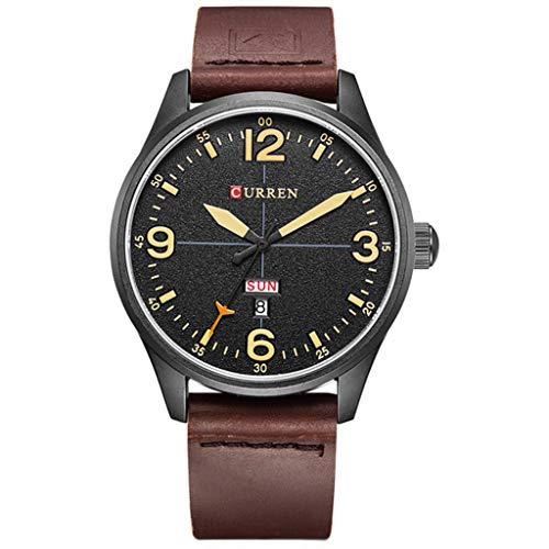 Sweet Classic Herren Uhren, Ultra Dünne Minimalistische Quartz Mit Datumsanzeige Herren-Armbanduhr,D