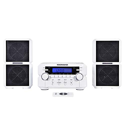 Magnavox MM435-WH 3-Piece Compact CD Shelf System with Digital AM/FM