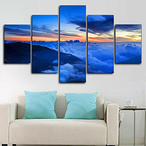 VYQDTNR - 5 Piece Canvas Wall Art 3D Printed Sky Sunrise Earth Painting Picture Poster Artwork for Living Room Bedroom Office Home Decoration Ready to Hang, Inner Framed