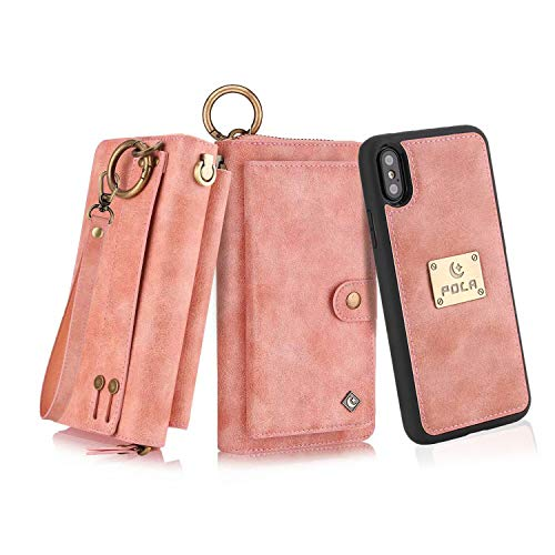 """Petocase Compatible iPhone Xs Max Wallet Case, Multi-Functional PU Leather Zip Wristlets Clutch Detachable Magnetic 13 Card Slots 4 Cash Purse Protection Back Cover for Apple iPhone 10S Max 6.5"""" Pink"""