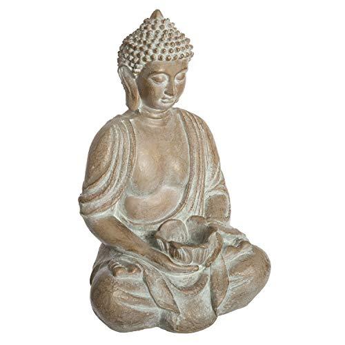 Atmosphera - Bouddha Assis Effet Blanchi H 39 cm été Indien