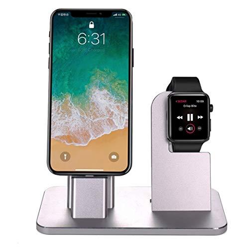 Funda protectora, 2 en 1 aleación de aluminio Base de carga del sostenedor del soporte de la estación, for la serie del reloj de Apple 3/2/1 / 42mm / 38mm, iPhone X / 8/8 Plus / 7/7 Plus / 6s / 6s Plu