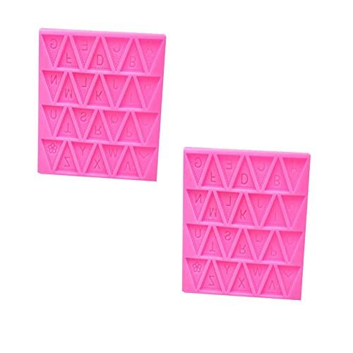 TENKY 2 Piezas Molde Reutilizable de Silicona para Hornear Molde de Bocadillo Triangular con Forma de Galleta Del Alfabeto 26 Alfabeto Inglés