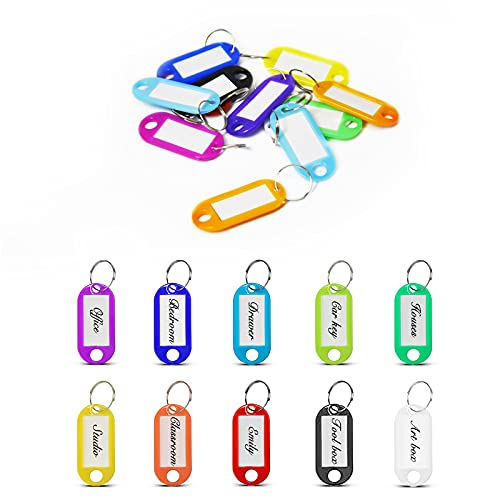 200 Pcs Plastic Key Tags with Label Window, 10 Colors Split Ring ID Label Tags for Key Chain Tags, Luggage Tags, Pet Name Tags