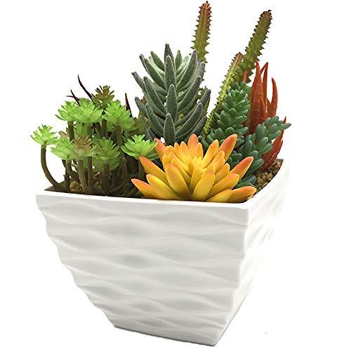 Aisamco Artificiale Prefabbricato Succulente Moderna Succulente Fioriera Disposizione 7 Pz Piante Succulente Finte Assortite in Vaso di Fiori Bianchi Centrotavola Succulente in Vaso