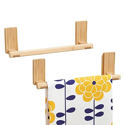 mDesign AFFIXX Toallero de bambú para colgar en pared, sin taladro - Soporte ideal como porta toallas y repasadores - Portatoallas autoadhesivo - resiste hasta 1,36 kg de carga - Paquete de 2