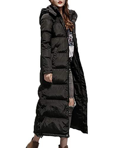 Price comparison product image Flygo Women's Winter Maxi Removeble Hooded Long Down Jacket Parka Coat (Large,  Black)