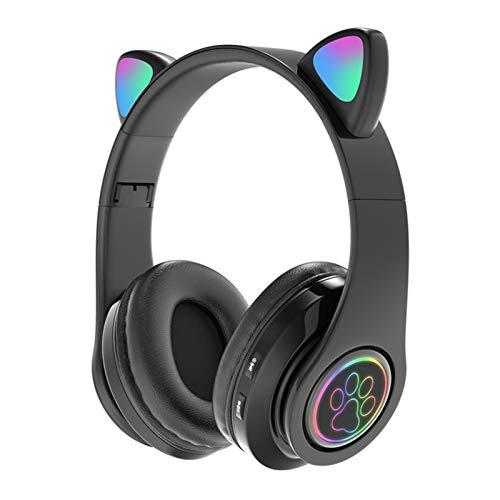 YONGX Fone de ouvido para jogos de vídeo game, Bluetooth 5.0 3D estéreo com microfone cancelador de ruído e luz LED (Rosa/Preto)