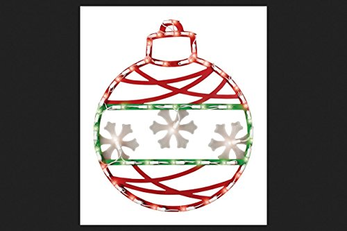 17' Red Green and White Lighted Christmas Ornament Window Silhouette Decoration -