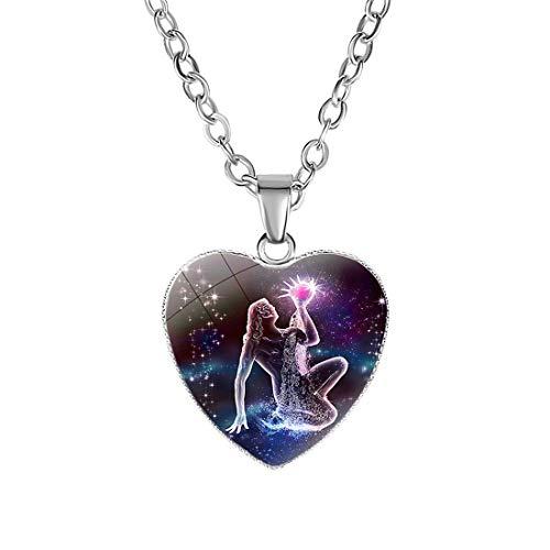 Caimeytie Colgante niña Collar de horóscopo Infantil Signo del Zodiaco Acuario