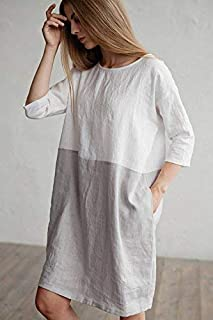 02cc32d2fae MagicLinen Loose fitted linen dress. Color block dress. White and gray linen  tunic.