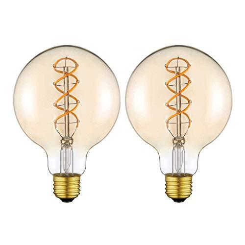Yunte Globus Vintage Edison Glühbirne Groß LED Lampe Birne(φ125mm) X mit E27 Sockel Flexibel Filament Dimmbar Warmweiß (2200 Kelvin) 160 Lumen Ersetzt 25 Watt Bernstein (G125-2 Pack)