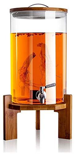 Dispensador de bebidas con un grifo a prueba de goteo hecho de dispensador de agua de acero inoxidable hecho de vidrio 5.5 / 8.5 / 10.5L Decantador de whisky de cristal sin plomo, regalo elegante únic
