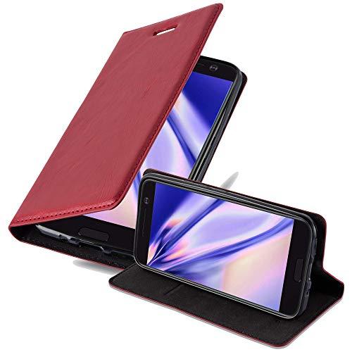 Cadorabo Hülle für HTC 10 (One M10) - Hülle in Apfel ROT – Handyhülle mit Magnetverschluss, Standfunktion & Kartenfach - Case Cover Schutzhülle Etui Tasche Book Klapp Style