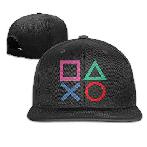 WilliamKL Playstation Joypad Flat Bill Snapback Adjustable Mountain Climbing Caps Hats Black