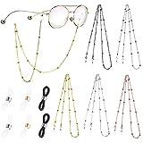 2Buyshop 5 Stück Brillenkette, Brillenketten Schnur für Sonnebrillen Brillen Kette Lesebrillen Perlen Brillen Hals Cord Brillenband Perlen für Damen Geschenk (5 Color)