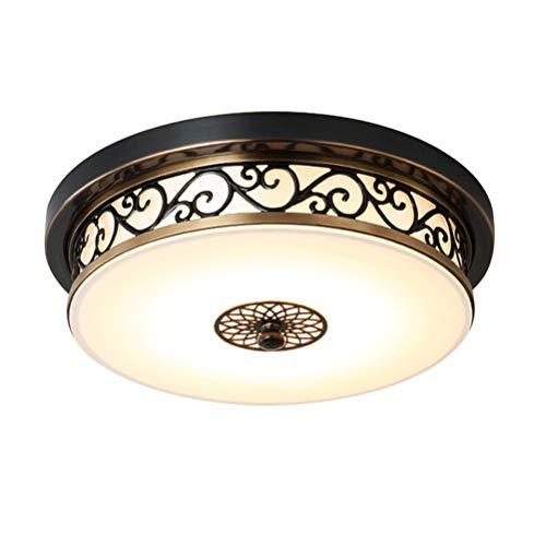24W LED Antik Deckenlampe Dimmbar Flurlampe Retro Deckenleuchte Vintage Rund Design Metall Glas Lampeschirm Wohnzimmer Esszimmer Schlafzimmer Bad Küche Decken Leuchten Schwarz-gold Ø40*H12cm
