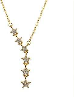 ADKOMN Star Necklace 14k White Gold/Gold Plated Choker Necklace for Women Layer Necklaces for Teen Girls Gift.