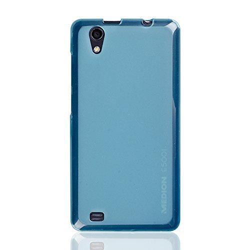 caseroxx TPU-Hülle & Bildschirmschutzfolie für Medion Life E5001 MD 99206, Set (TPU-Hülle in hellblau)