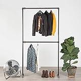 RAW58 Perchero doble de 2 niveles, resistente, estilo industrial, minimalista, moderno, moderno, para ropa, tubo de hierro, para dormitorio rústico (83 x 16 x 45 cm), color negro