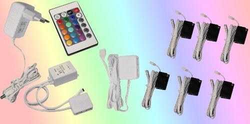 Trango set de 6 luces LED de cristal RGB con cambio de color RGB, incluido control remoto TG5022-06 Iluminación del gabinete, Iluminación de estante de vidrio, Iluminación de escaparate, Clips LED