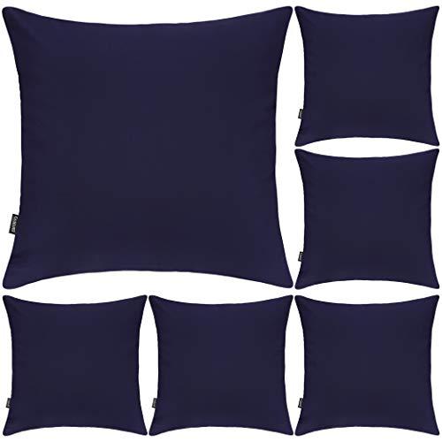 Lot de 6 housses de coussin carrées décoratives en 100 % coton, 45 x 45cm, bleu nuit