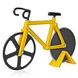 Asdirne Cortador de Pizza, Cortador de Pizza para Bicicleta, con Hoja de Acero Inoxidable con Revestimiento Antiadherente, Limpieza Afilada y Fácil , 18,5 CM, Amarillo