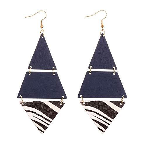 Dames Oorbellen Persoonlijkheid Dame Driehoek Blauwe Acryl Lange Geometrische Oorbellen Mode-Sieraden