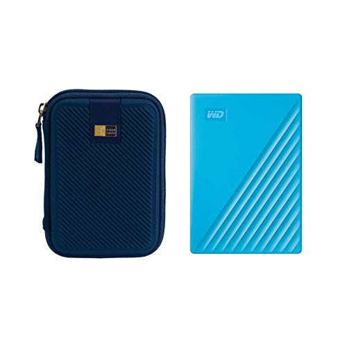 WD 4TB My Passport USB 3.2 Gen 1 Slim Portable External Hard Drive (2019, Sky) + Compact Hard Drive Case (Sky) (4TB, Sky Blue)