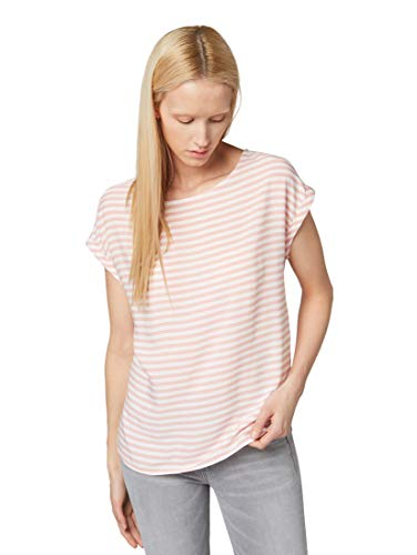 TOM TAILOR DENIM Damen 1008260 Bluse, Rosa (Blush Pink Stripe 15951), Small (Herstellergröße: S)