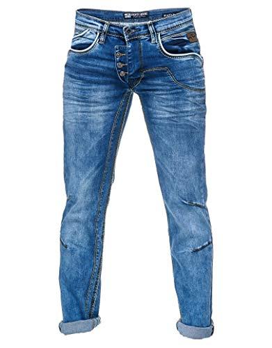 Rusty Neal Jeanshose Herren Jeans Regular Fit Royal Blue \'DIE ETWAS ANDERE Jeans\' Stretch Denim -30, Hosengröße:33/34