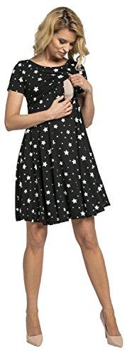 Happy Mama.para Mujer Vestido con Vuelo Premamá Manga Corta Square Neckline.084p (Negro con Estrellas, 38, M)