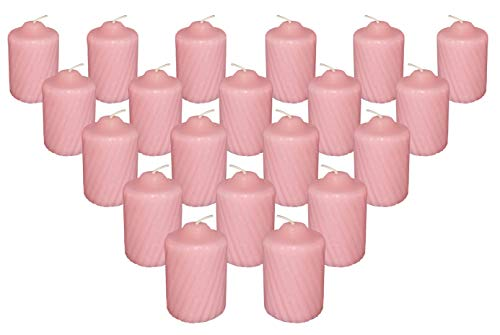 Pink Wild Flower Scented Votive Candles - 15 Hour Long Burn Time - Textured Finish - Box of 20