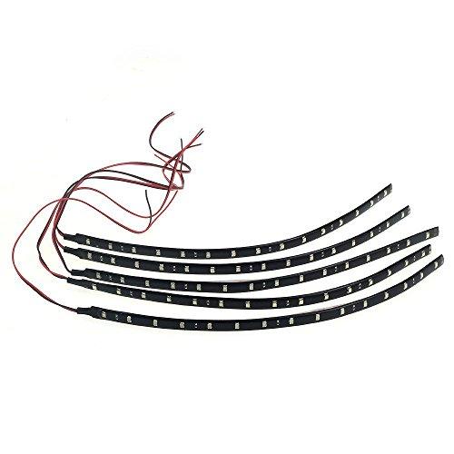 Haobase 5Pezzi 30cm 15SMD LED Strisce Strip Lampadine Luci Flessibile Auto Impermeabile 3528 DC12V - Bianco Freddo