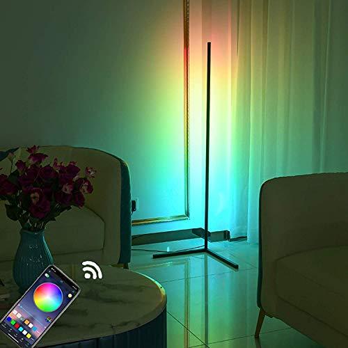 JZLPY RGB Lámpara de pie de Esquina LED Dimmable Luz de pie con Control de aplicación Piso Luz Ambiente Lámpara Esquina Cambio de Color Mood Light 20W Lámpara Noche