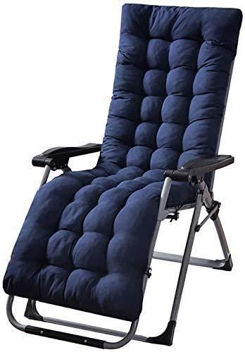 Cojines Plegables para tumbonas Cojín de jardín portátil Patio Grueso Duradero Cama Acolchada Sillón reclinable Asiento de Banco Rojo Sin Silla- Azul