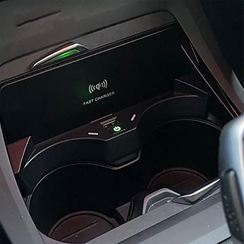 HAZYJT Modificación Interior Placa De Teléfono De Carga Rápida Pad 15w Qi Cargador Inalámbrico para Automóvil Compatible con B-MW X2 F39 2018-2021