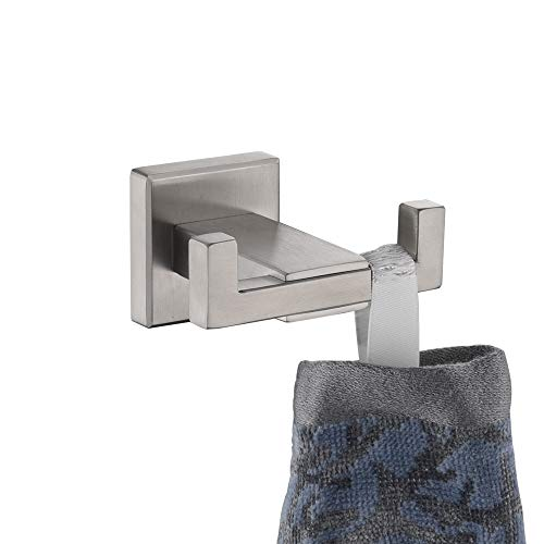 Bathroom Double Hook Angle Simple Sus304 Stainless Steel Bath Towel Holder Coat Purse Hanger Hand Towel Rack Double Robe Towel Hook For Wall Brushed Steel