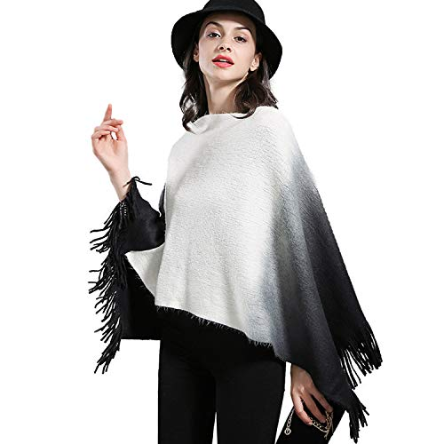 Schal XXL Damen Winterschal Langer Weicher Warmer Modischer Cape Oversized Fransen Poncho (Black and White)