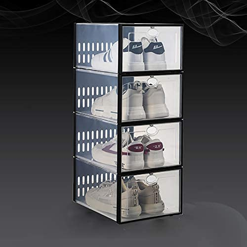 HHTX Caja de Zapatos apilable de 4 Paquetes, Organizador de Zapatos de plástico Transparente para Armario, contenedor de Zapatos para Zapatillas, Zapatero Que Ahorra Espacio para Dormitorio, Dorm