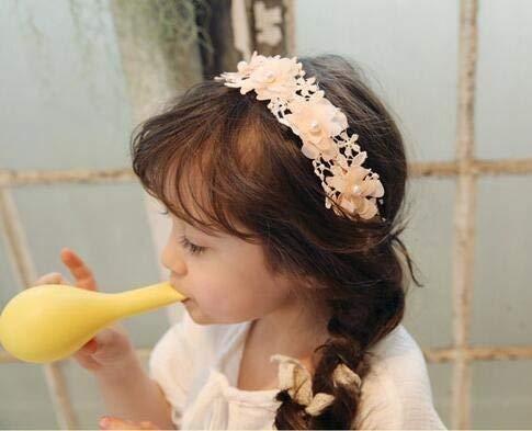 YiXing Lindo lazo de encaje flor diadema bebé niña algodón diadema bebé niña recién nacida banda elástica accesorios bebe pelo accesorios (color: E213466)
